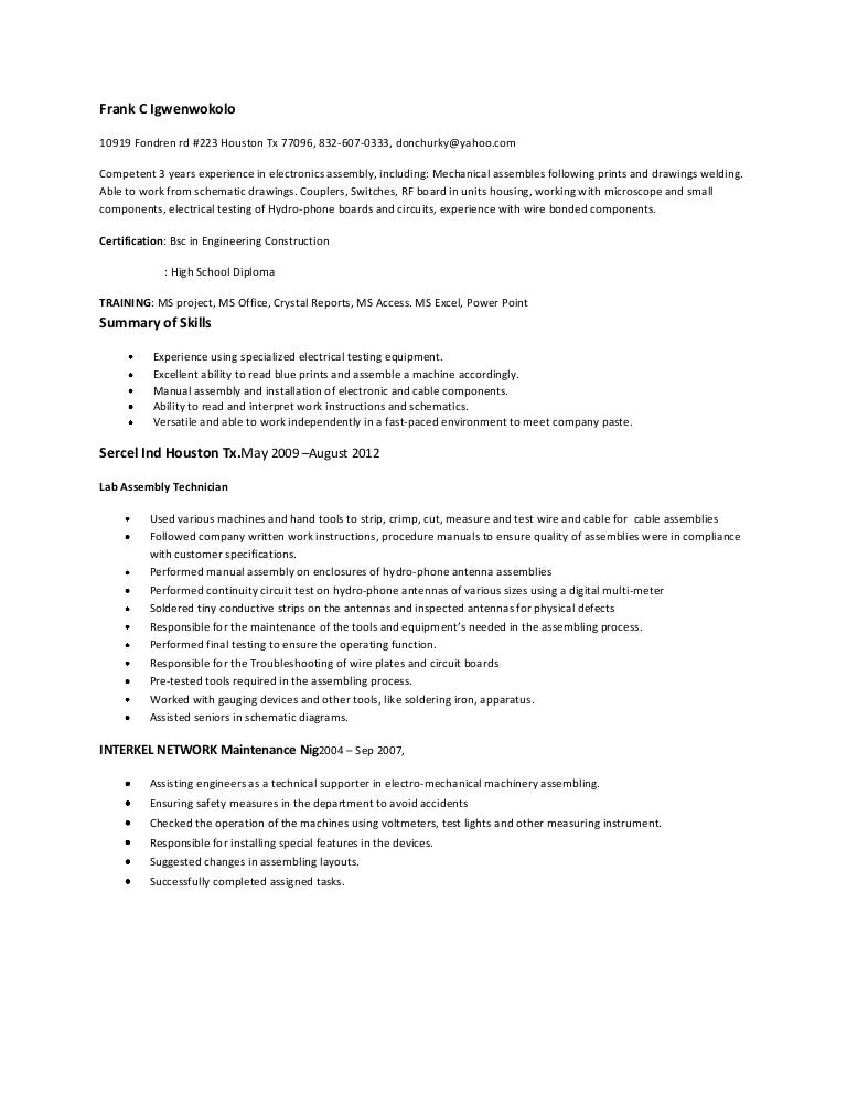 assembler top resume - Electronic Assembler Resume Sample