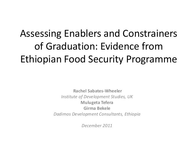 Assessing enablers and constrainers of graduation