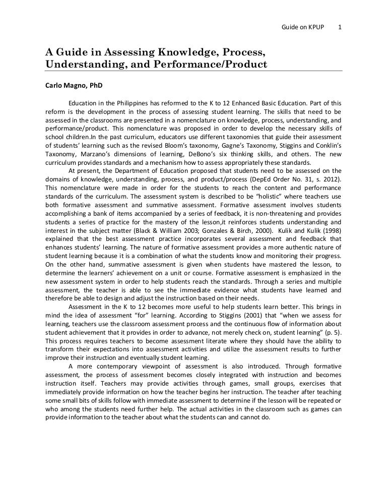Assessment Essay Sample
