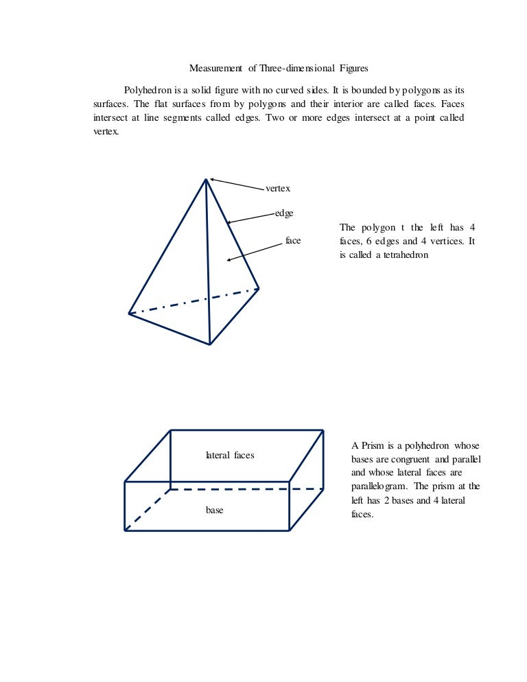 Measurement of Three Dimensional Figures _Module and test questions.