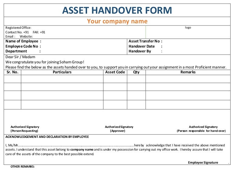 Asset handover form for Job handover checklist template