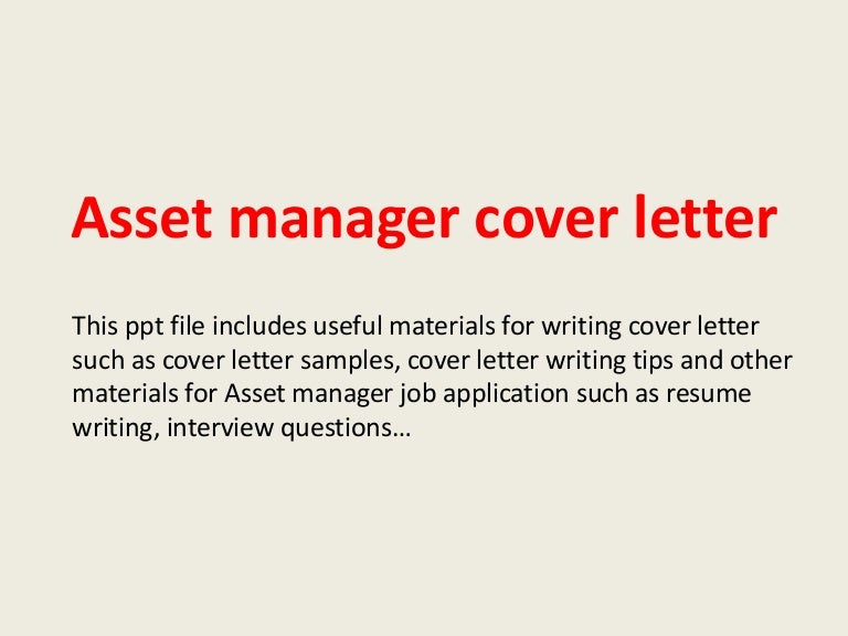 Asset Management Resume Cover Letter - Constes.com