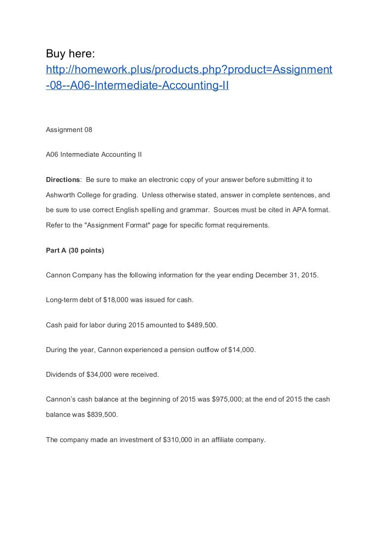 assignment a intermediate accounting ii