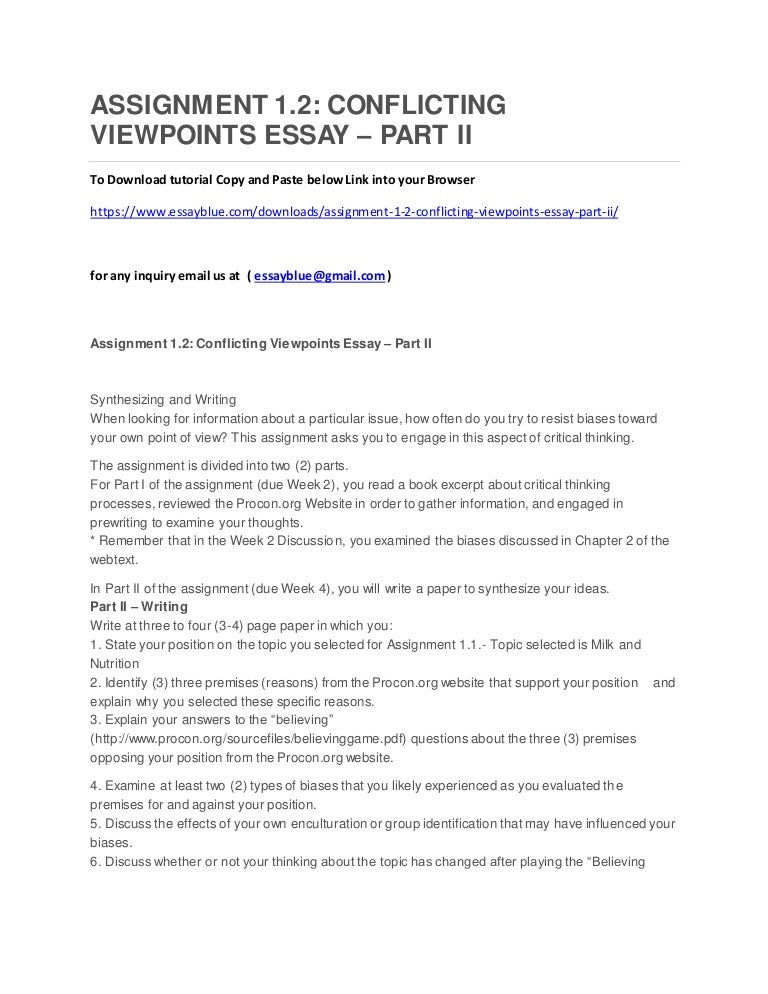 assignment conflicting viewpoints essay part ii