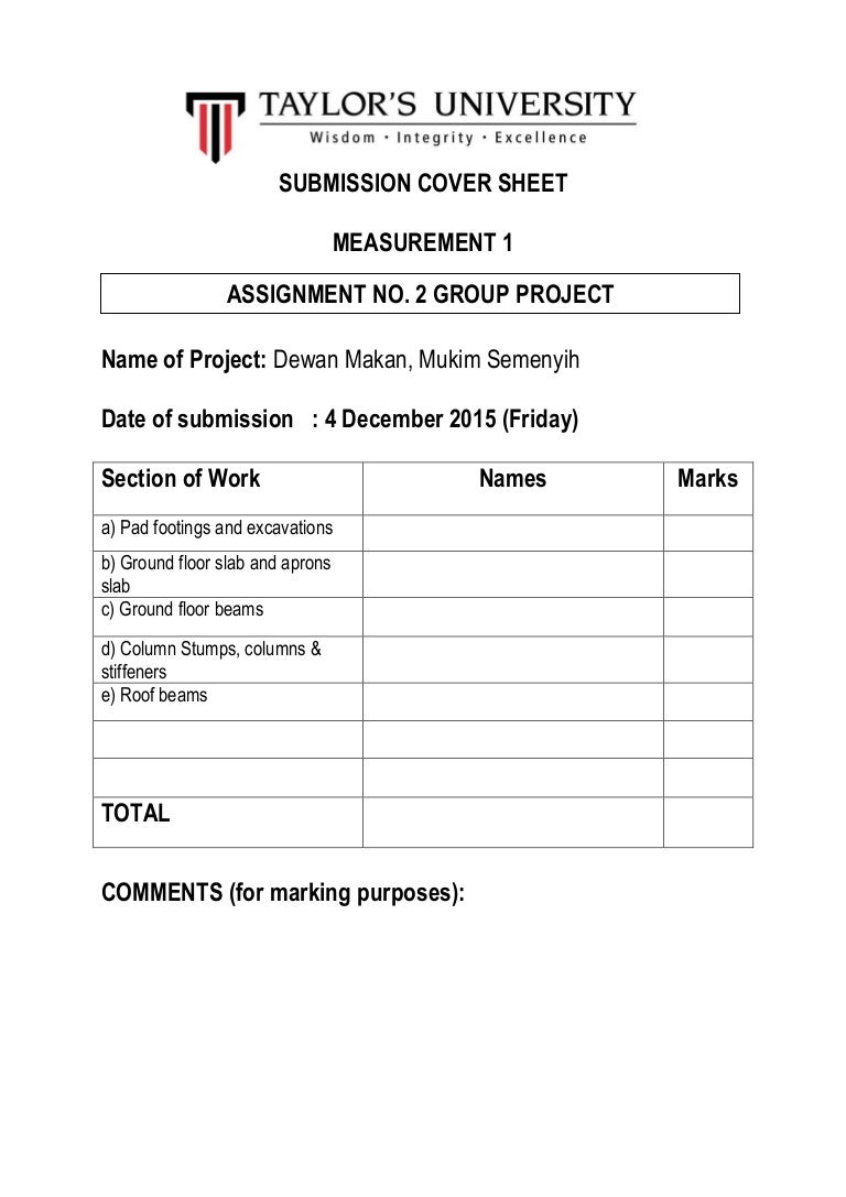assignment submission cover sheet