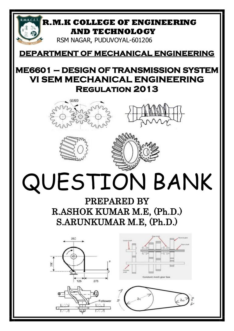 DESIGN OF TRANSMISSION SYSTEMS QUESTION BANK