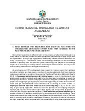 Human Resource Management:Recruitment and Selection, Placement and Induction)