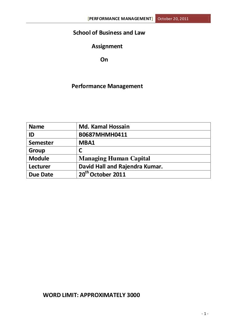 assignment on performance management