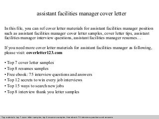 Collections Manager Cover Letter. Facilities Project Manager Cover ...