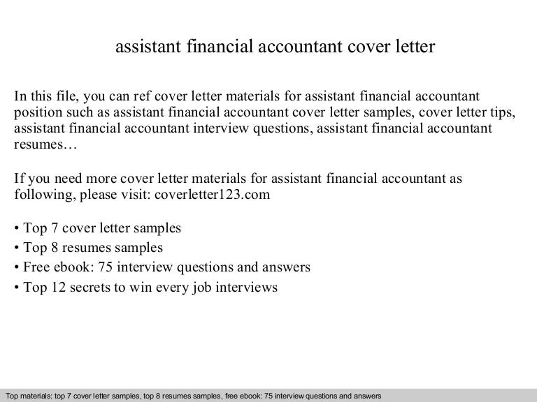 assistant financial accountant cover letter