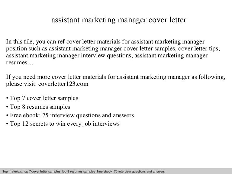 Assistant marketing manager cover letter