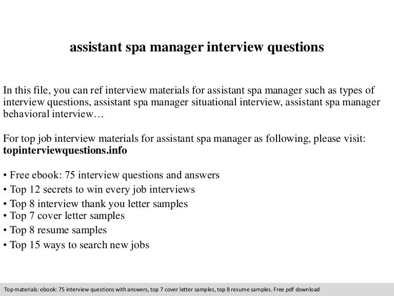 assistant spa manager interview questions - Spa Manager Cover Letter