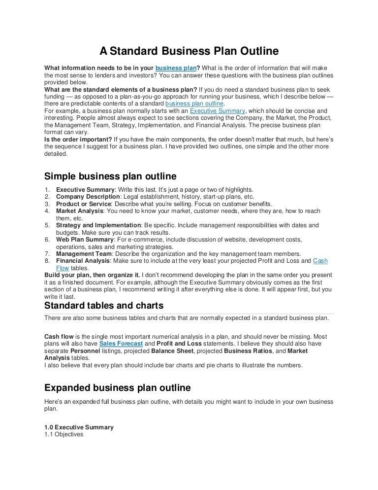 basic business plan outline