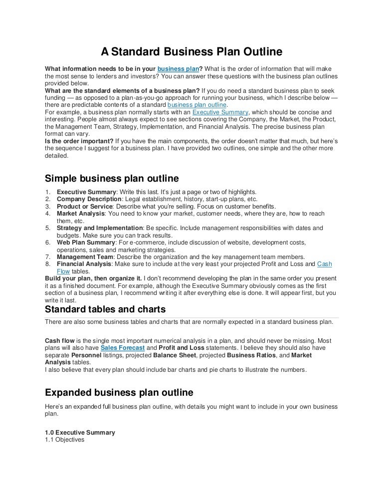 A Standard Business Plan Outline
