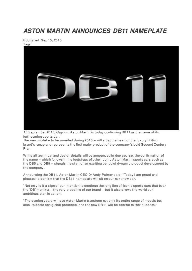 Aston Martin Announces Db11 Press Release