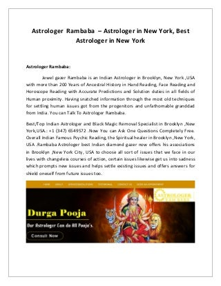 Astrologer rambaba psychic reading in new york