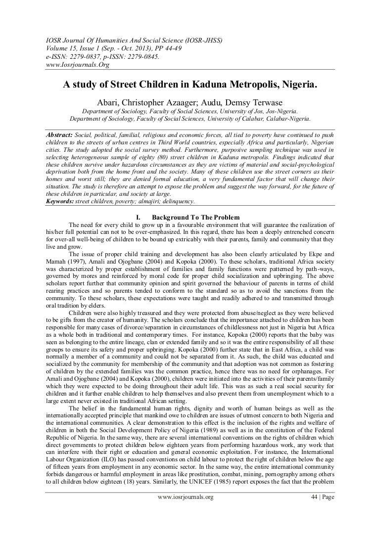 A Study Of Street Children In Kaduna Metropolis Nigeria