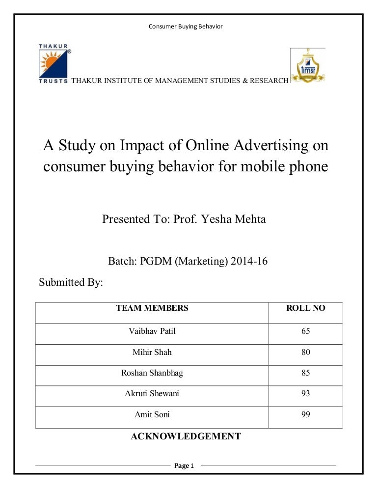 a study on impact of online advertising on consumer buying behaviour
