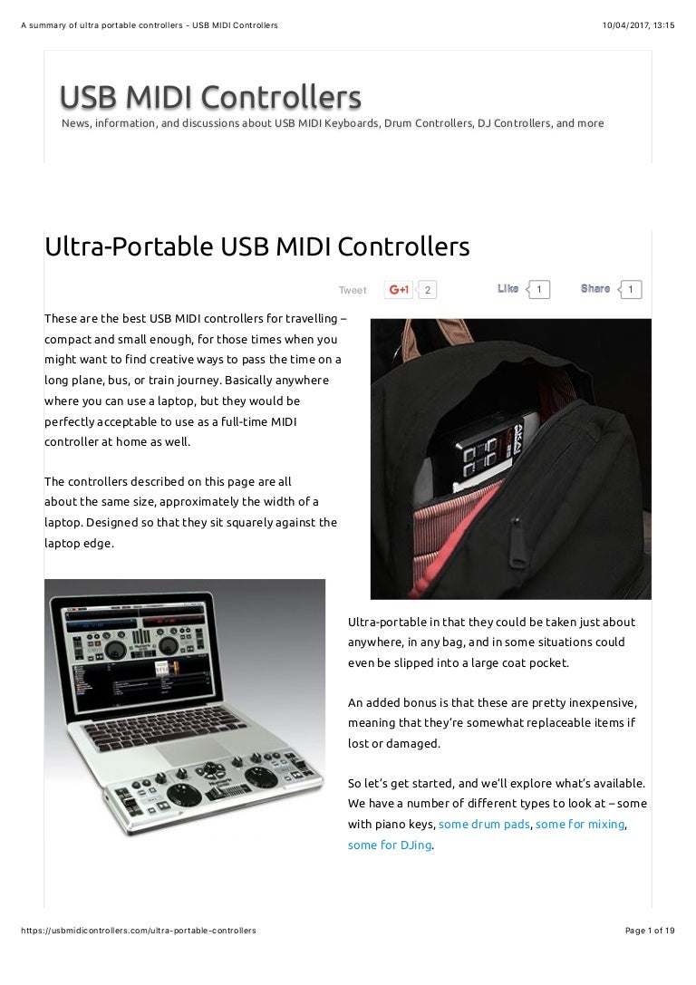 A summary of ultra portable controllers by usbmidicontrollers com