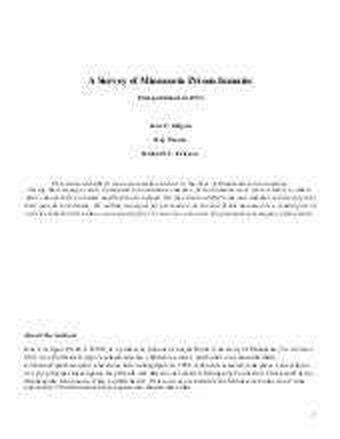 A Survey of Minnesota Prison Inmates