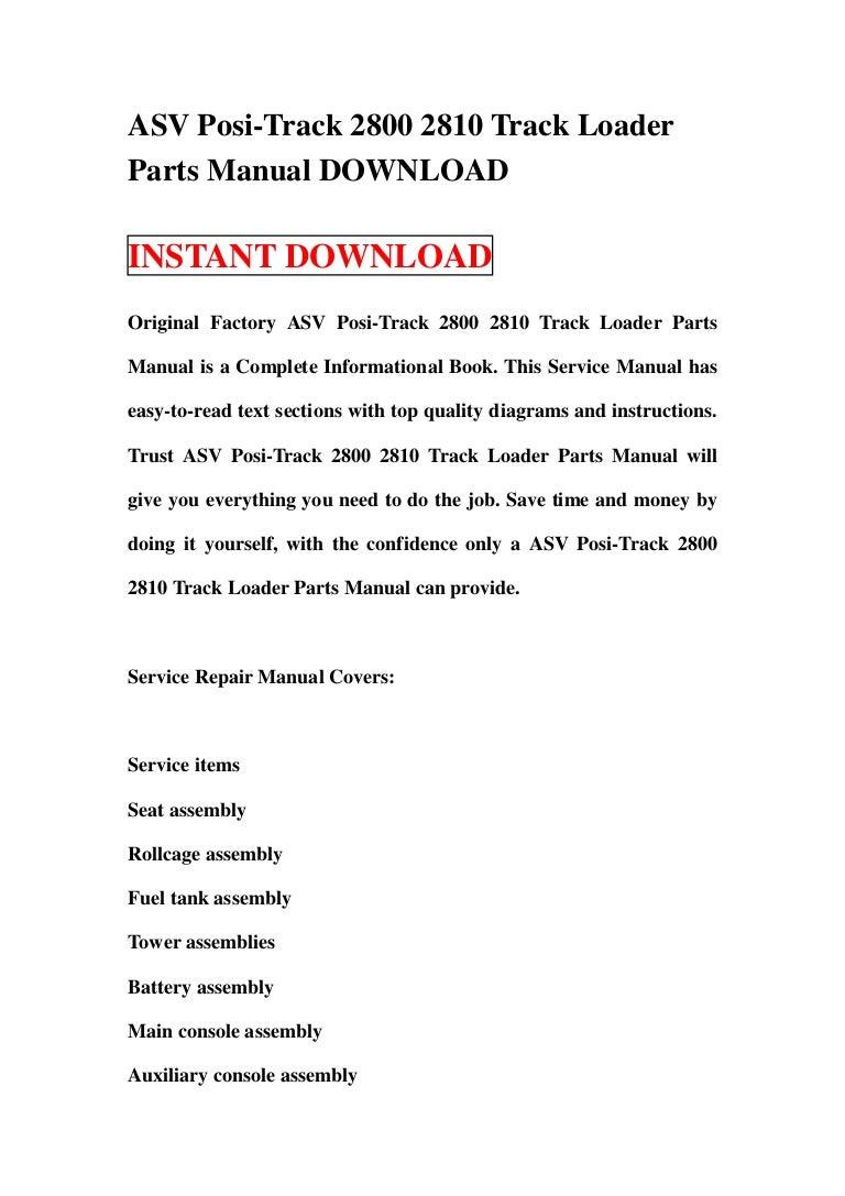 asv posi-track 2800 2810 track loader parts manual download  slideshare