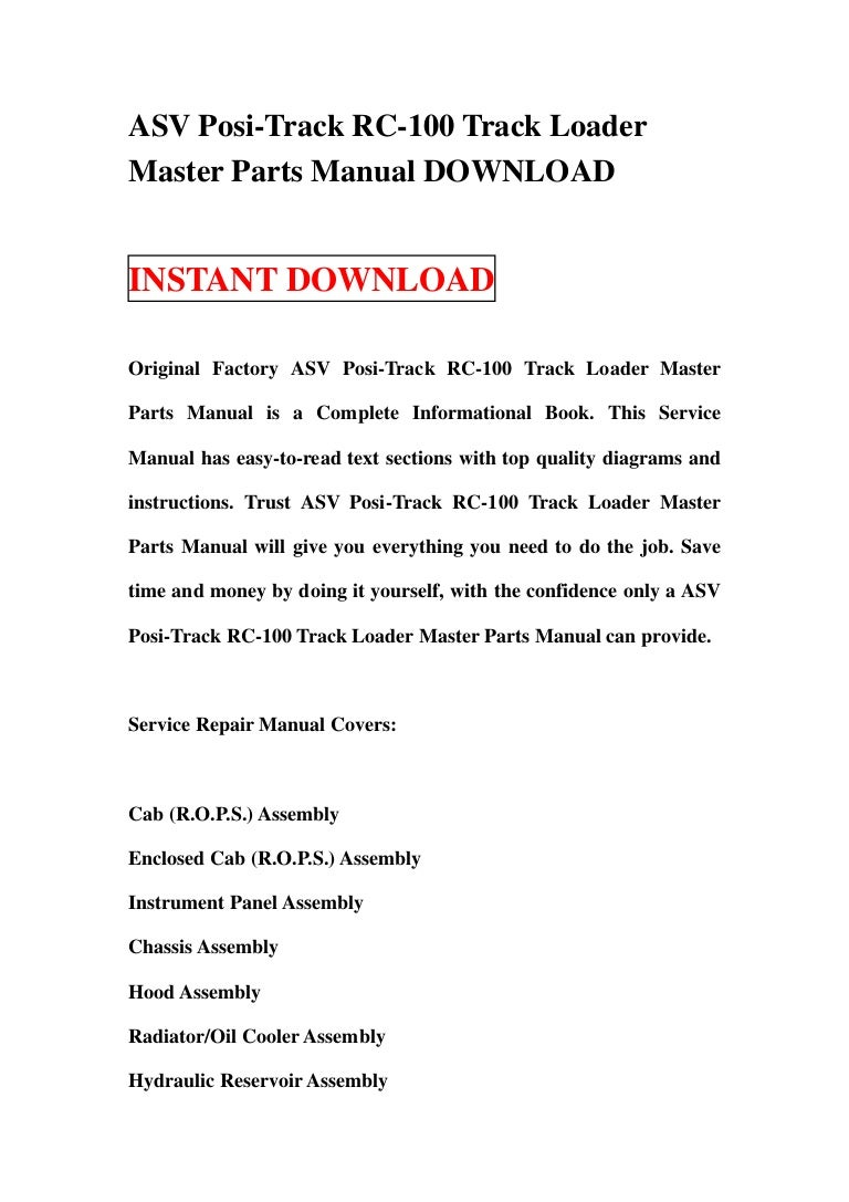 asv posi track rc 100 track loader master parts manual download rh slideshare net