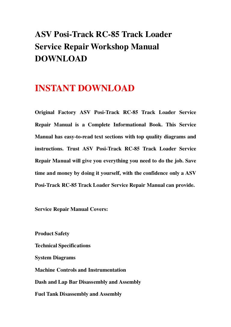 asv posi track rc 85 track loader service repair workshop manual