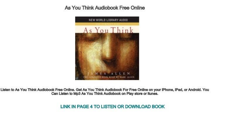 As a man thinketh by james allen free ebook.