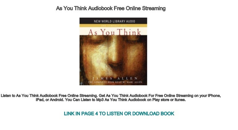 As you think audiobook free online.