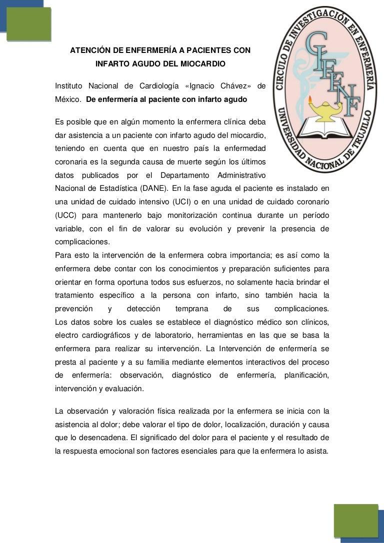 atencion de enfermeria a pacientes con infarto agudo de miocardio (IA…