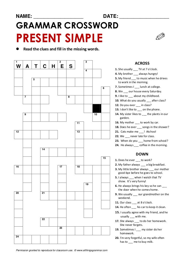 crossword-presentsimple