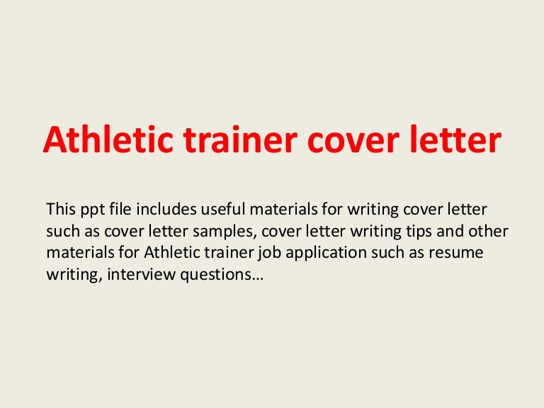 Athletic Training Resume Cover Letter. coaching resume cover ...