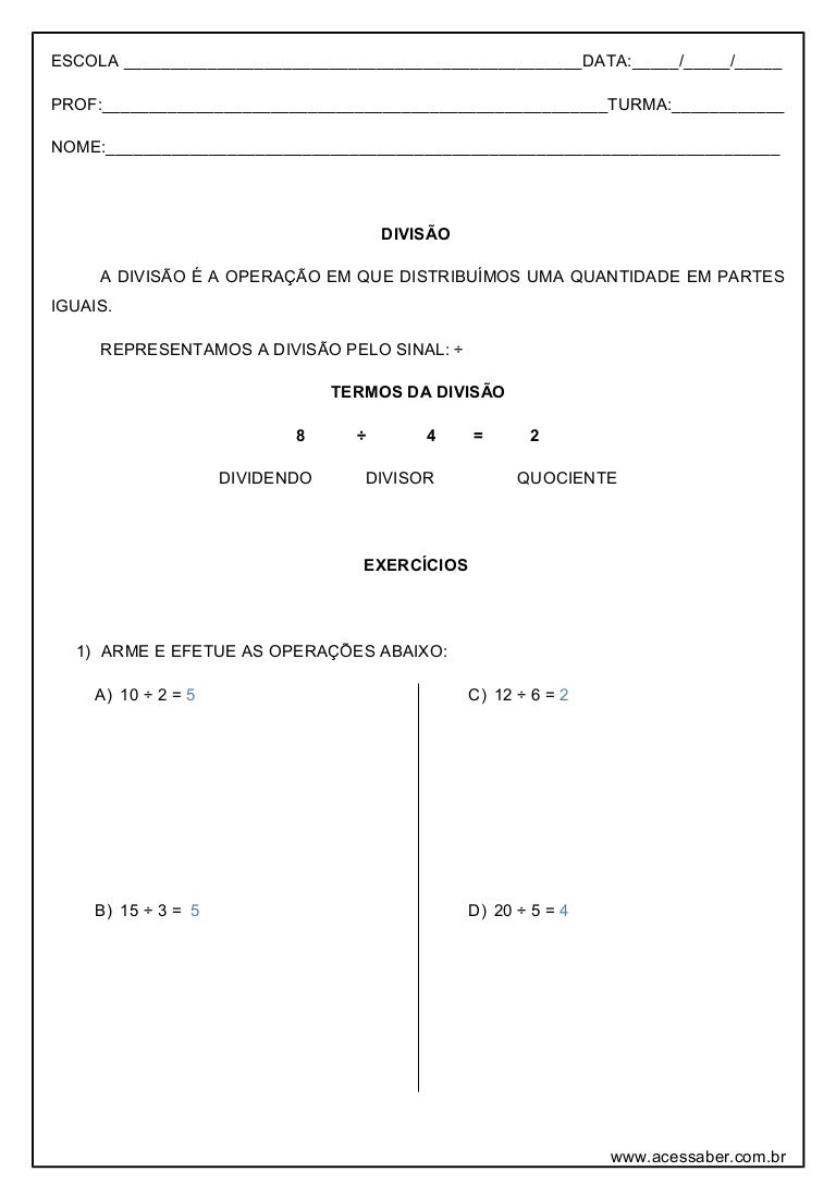 Atividade De Matematica Divisao 3º Ou 4º Ano Respostas