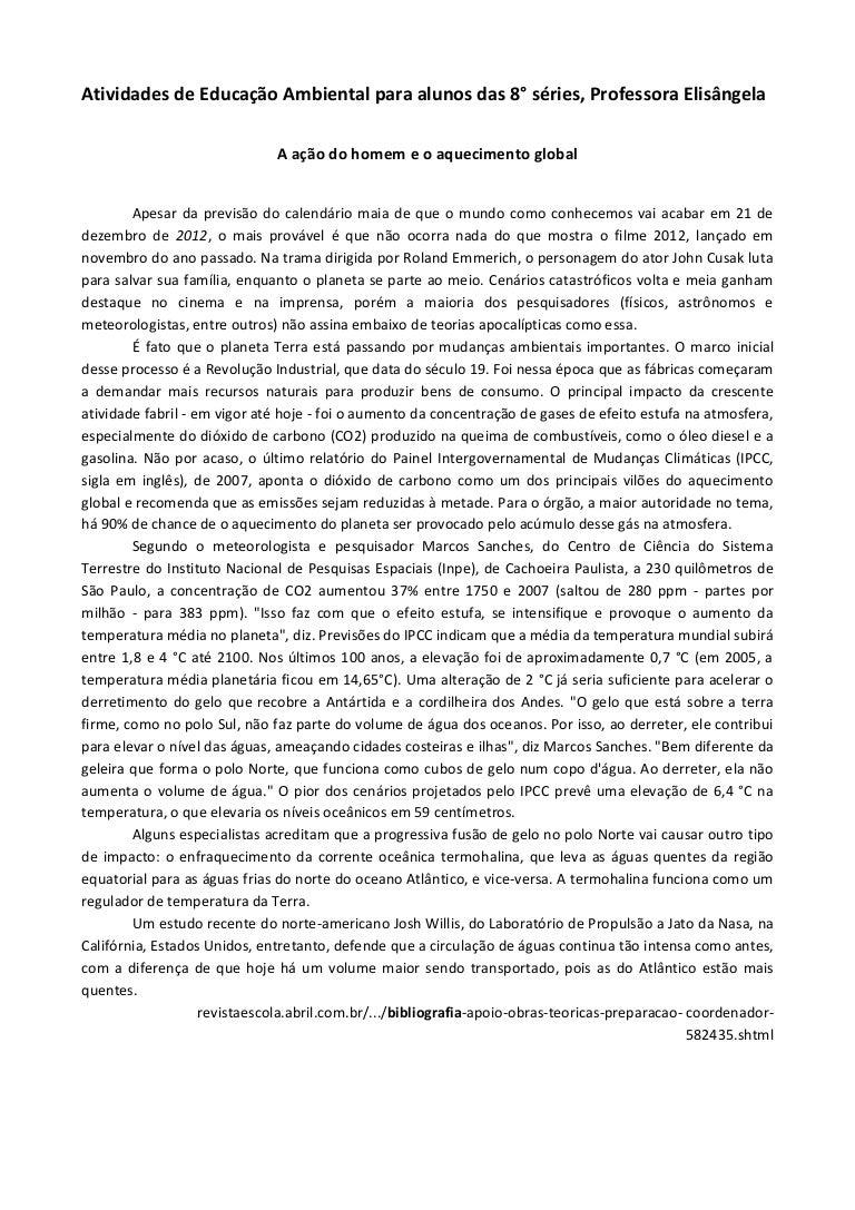 Super Atividades de educação ambiental 8ª séries profª elisangela DI23