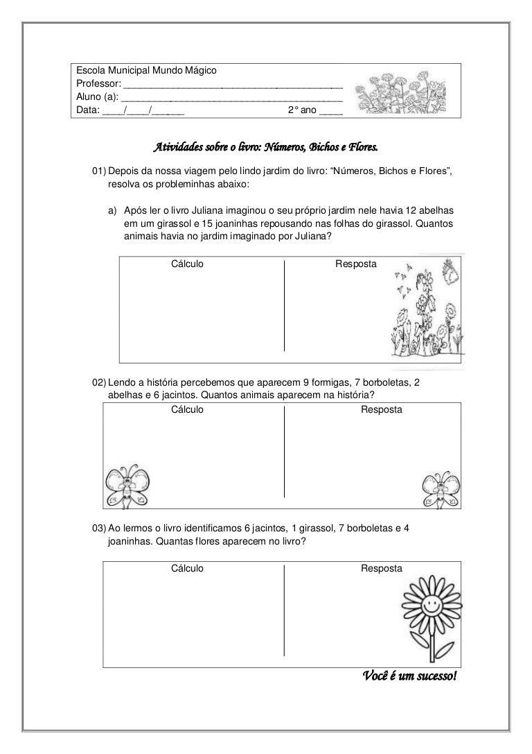 Atividade de matematica sobre o livro: Números, Bichos e