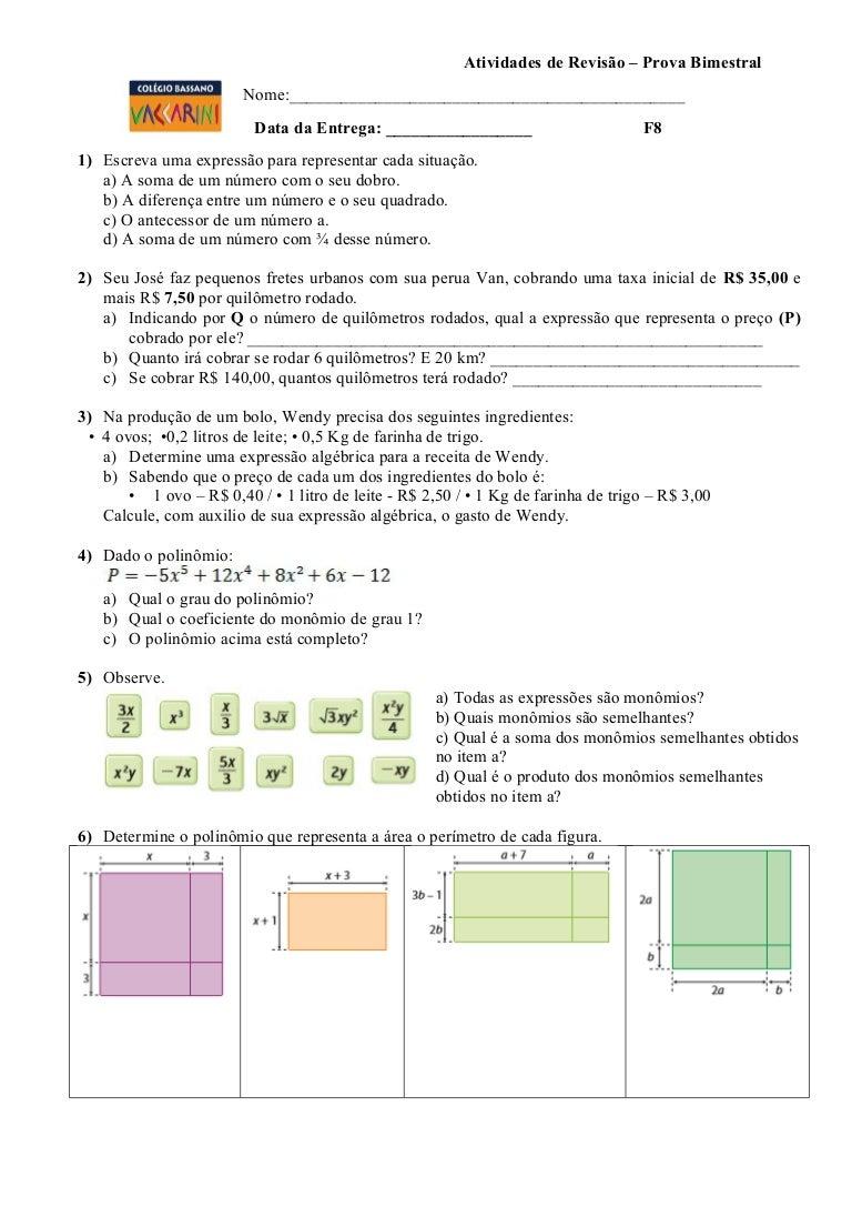 Atividades revisão de matemática 8º ano