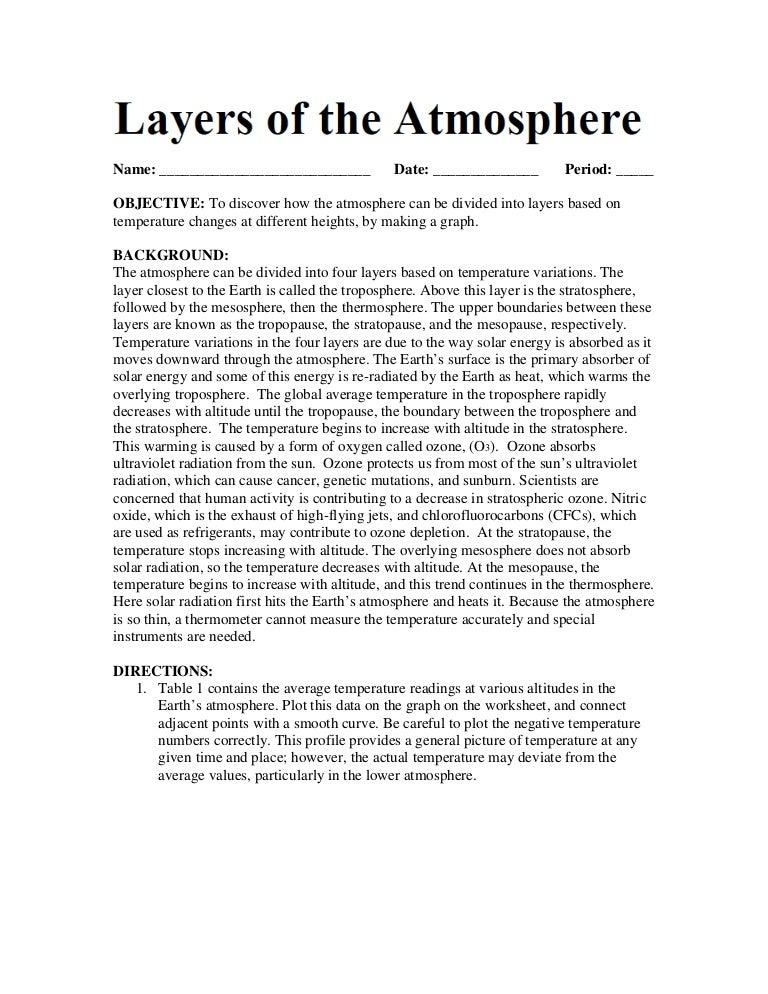 Atmosphere Activity – Atmosphere Worksheet