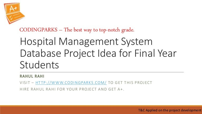 Hospital management system database project for final year students