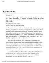 At the ready, sheet music minus the sheets -- The New York Times