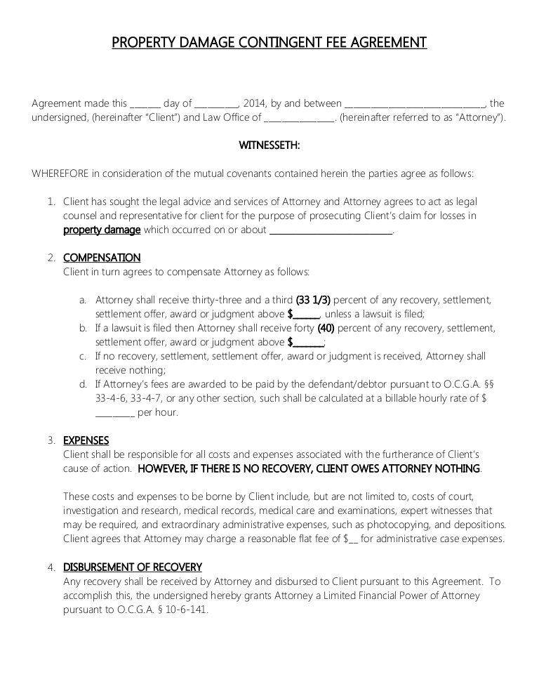 ATTORNEY RETAINER CONTRACT - PROPERTY DAMAGE CONTINGENT FEE AGREEMENT