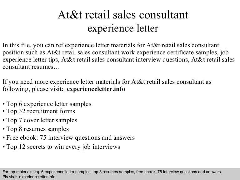 At&t retail sales consultant experience letter