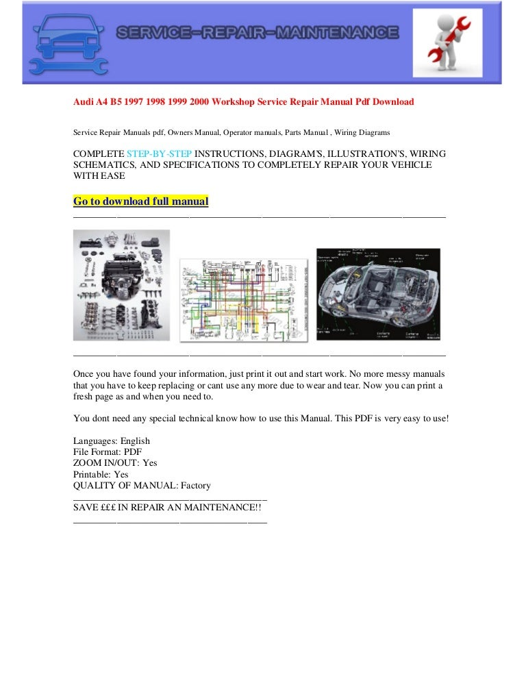 Audi a4 b5 1997 1998 1999 2000 electrical wiring diagram pdf download | 1998 Audi A4 Wiring Diagram |  | SlideShare