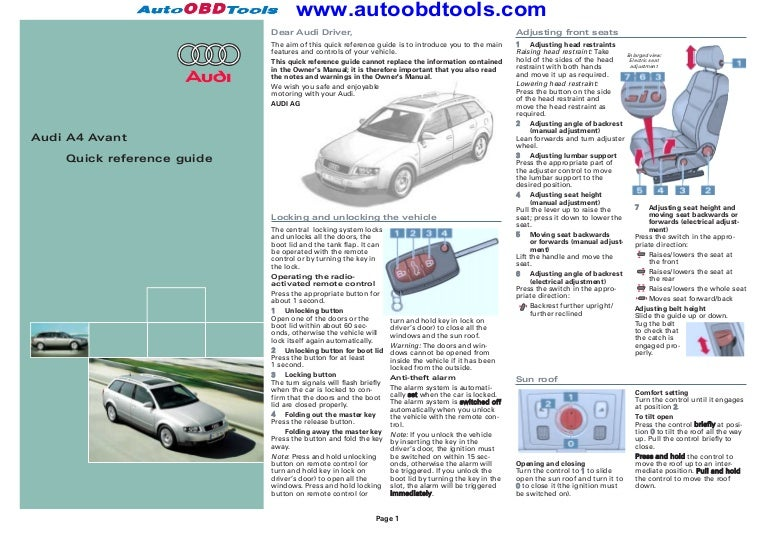 audi a4 quick reference guide diagram user manual rh slideshare net Electrical Installation Guide 2016 PDF Electrical Installation Standards