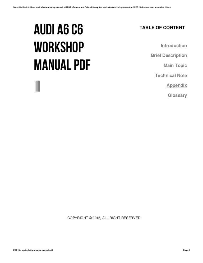 Audi a6 c6 workshop manual pdf