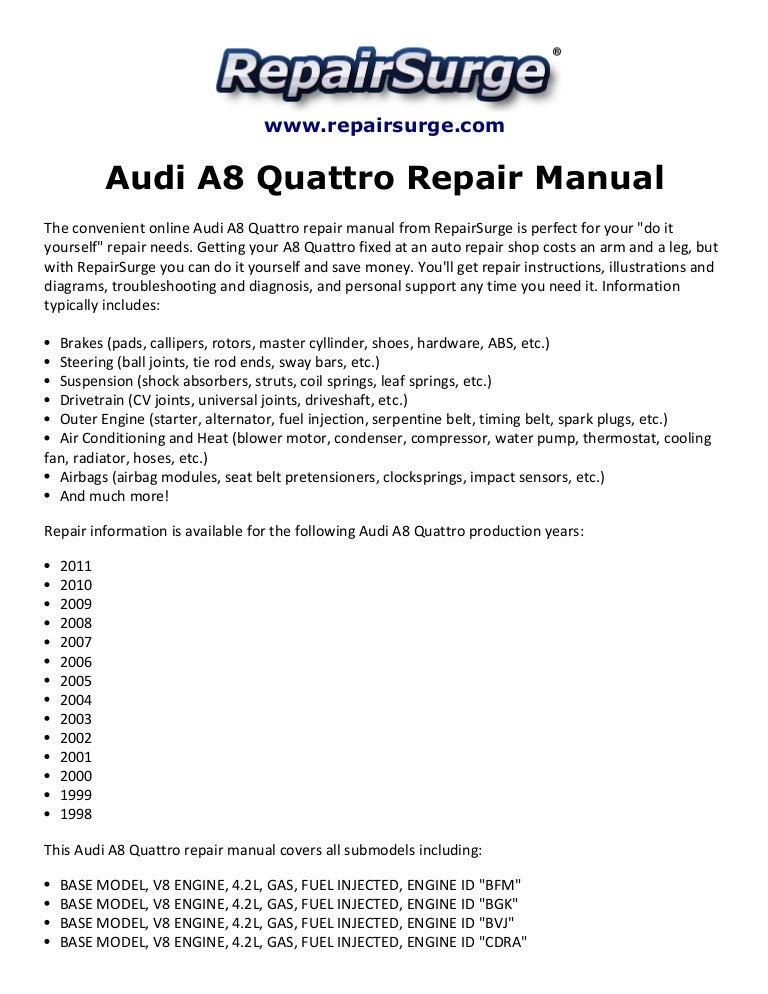 Audi A8 Quattro Repair Manual 1998-2011 | Audi A8 4 2l V8 Engine Diagram |  | SlideShare