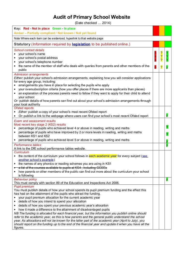 Audit Of Primary School Website Rag Check List Template 1