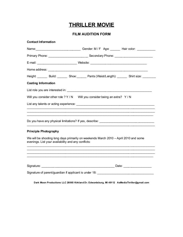 Audition Form – Audition Form