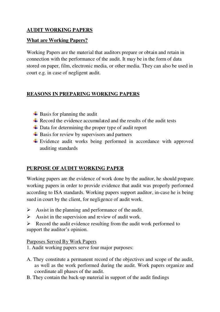 Audit working papers – Auditing Report Format