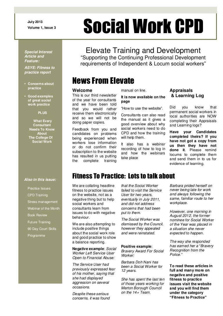 social work cpd august newsletter