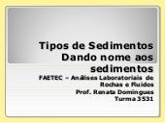Classificação dos sedimentos